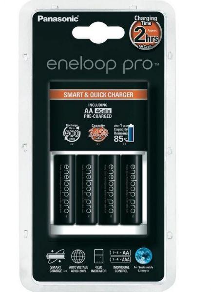 Sanyo/Panasonic Eneloop Pro Charger BQ-CC16 inkl. 4 AA eneloop pro 2500 mAh